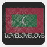 Amo Maldivas frescos Calcomania Cuadradas Personalizada