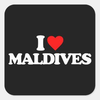 AMO MALDIVAS PEGATINA CUADRADA