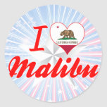 Amo Malibu, California Etiquetas Redondas