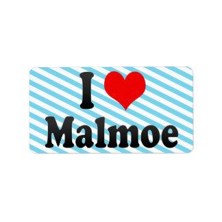 Amo Malmoe, Suecia Etiqueta De Dirección