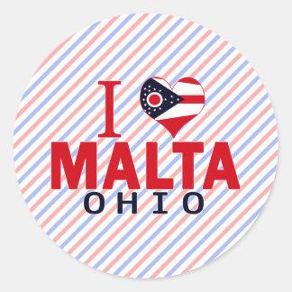 Amo Malta Ohio Pegatinas Redondas