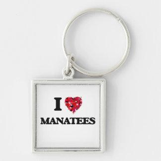 Amo Manatees Llavero Cuadrado Plateado