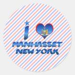 Amo Manhasset, Nueva York Pegatinas Redondas