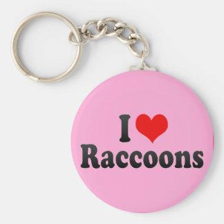 Amo mapaches llavero redondo tipo pin