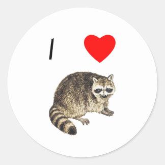 Amo mapaches pegatina