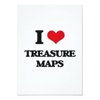 """Amo mapas del tesoro invitación 5"""" x 7"""""""