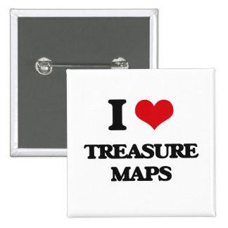 Amo mapas del tesoro chapa cuadrada 5 cm