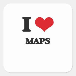 Amo mapas calcomania cuadradas personalizada