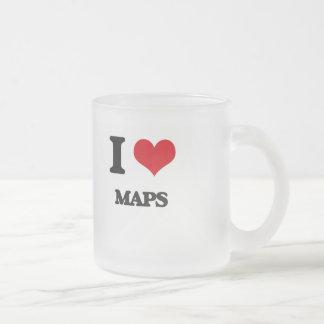 Amo mapas taza cristal mate