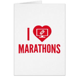 Amo maratones tarjeta de felicitación