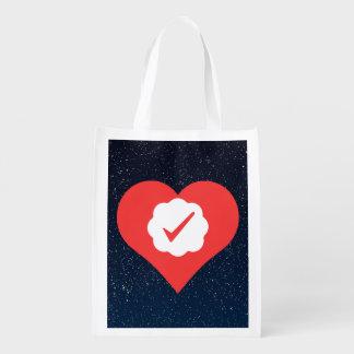 Amo marcas de verificación bolsas para la compra