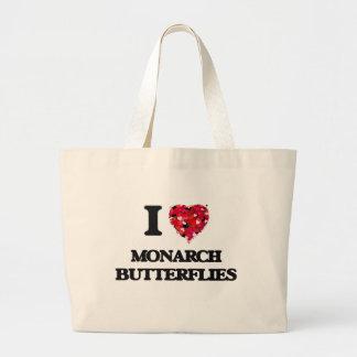 Amo mariposas de monarca bolsa tela grande
