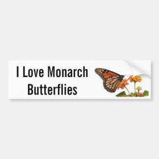 Amo mariposas de monarca etiqueta de parachoque