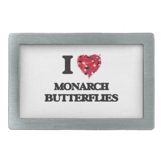Amo mariposas de monarca hebillas cinturón rectangulares