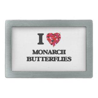 Amo mariposas de monarca hebillas de cinturón rectangulares