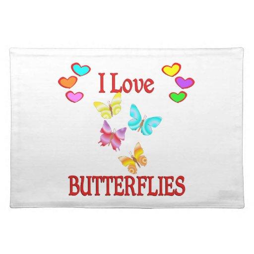 Amo mariposas manteles individuales