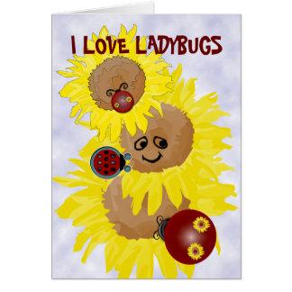 Amo mariquitas tarjeta de felicitación