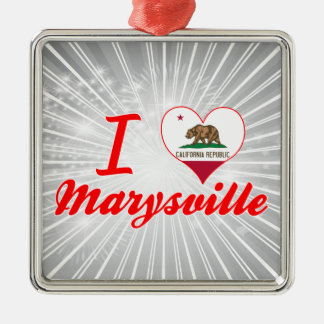 Amo Marysville, California Adorno Cuadrado Plateado