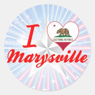 Amo Marysville, California Pegatina Redonda