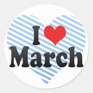 Amo marzo etiqueta redonda