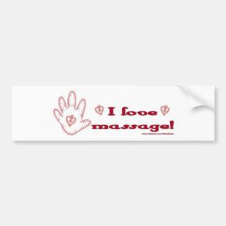 ¡Amo masaje! Pegatina De Parachoque