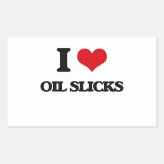 Amo masas flotantes de aceite rectangular pegatina