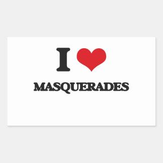 Amo mascaradas pegatina rectangular