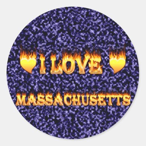 Amo Massachusetts Pegatina Redonda