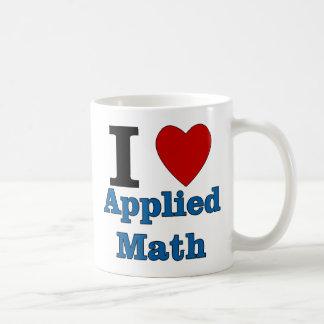 Amo matemáticas aplicada taza básica blanca