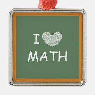 Amo matemáticas adorno cuadrado plateado