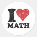 Amo matemáticas etiquetas redondas