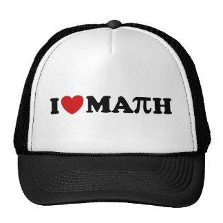 Amo matemáticas gorros bordados