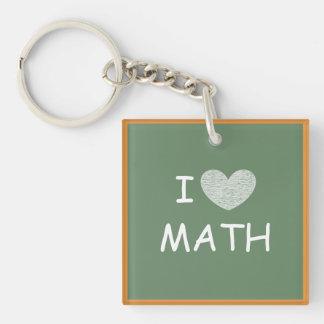 Amo matemáticas llavero cuadrado acrílico a una cara