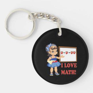 Amo matemáticas llavero redondo acrílico a doble cara