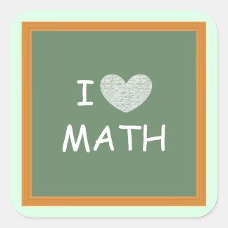 Amo matemáticas calcomanía cuadradas personalizadas