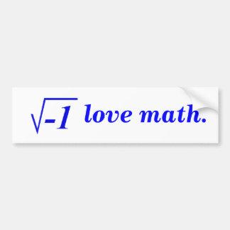 Amo matemáticas pegatina para auto