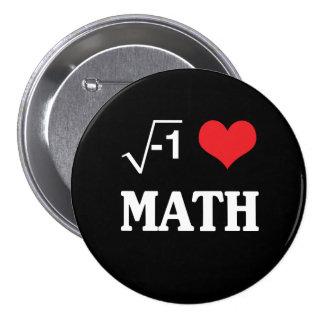 Amo matemáticas pin redondo de 3 pulgadas