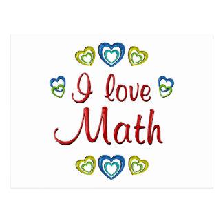 Amo matemáticas tarjeta postal