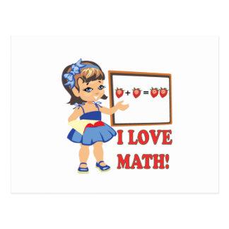 Amo matemáticas tarjetas postales