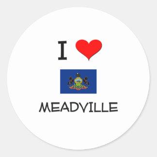 Amo Meadville Pennsylvania Pegatinas Redondas