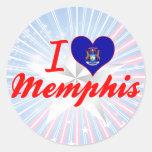 Amo Memphis, Michigan Etiquetas Redondas