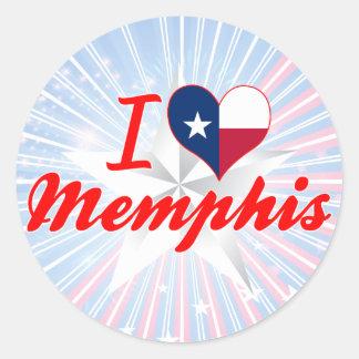 Amo Memphis, Tejas Pegatina Redonda