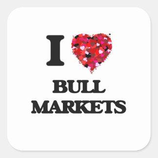 Amo mercados alcistas pegatina cuadrada
