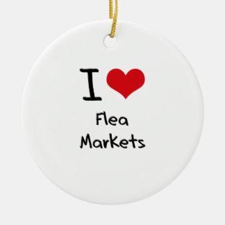 Amo mercados de pulgas adorno navideño redondo de cerámica