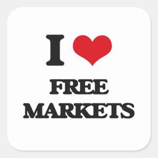 AMO mercados libres Pegatina Cuadrada