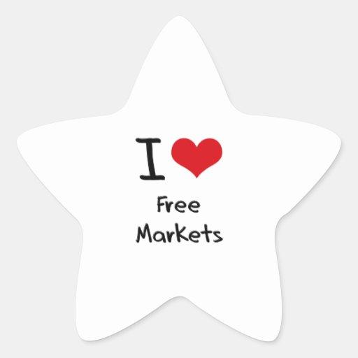 Amo mercados libres pegatina en forma de estrella
