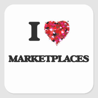 Amo mercados pegatina cuadrada