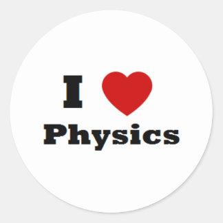 Amo mercancía de la física pegatina redonda
