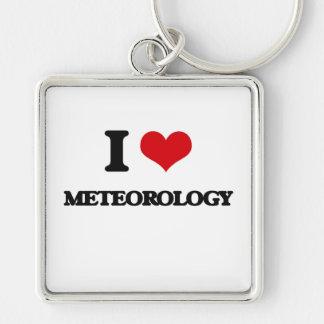 Amo meteorología llavero cuadrado plateado