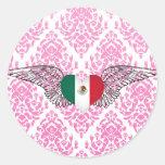Amo México - alas Etiqueta Redonda